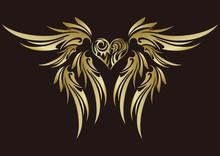 トライバル。ハートと翼。ステッカー。エンブレム。