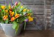 canvas print picture - Eimer mit bunten Tulpen