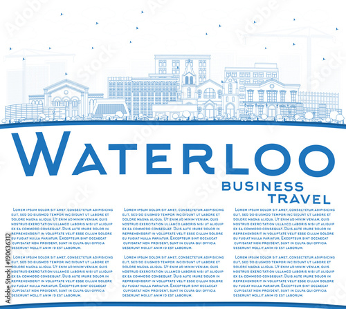 Valokuva Outline Waterloo Iowa Skyline with Blue Buildings and Copy Space.