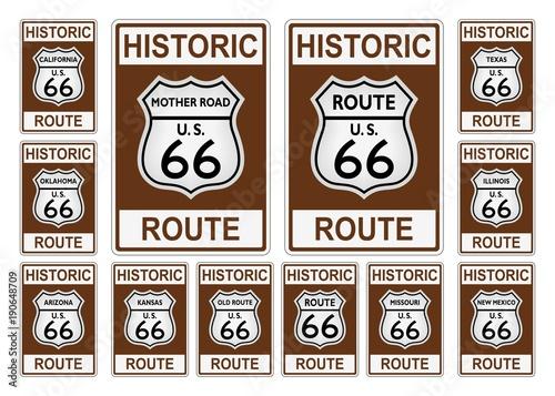 Photo  Route 66 Verkehrszeichen aus USA / Amerika mit allen betroffenen Staaten in hist