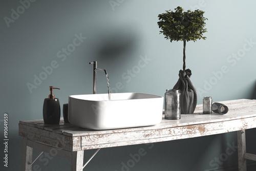Rustiakeler antiker Waschtisch mit Waschbecken. Vintage Stil