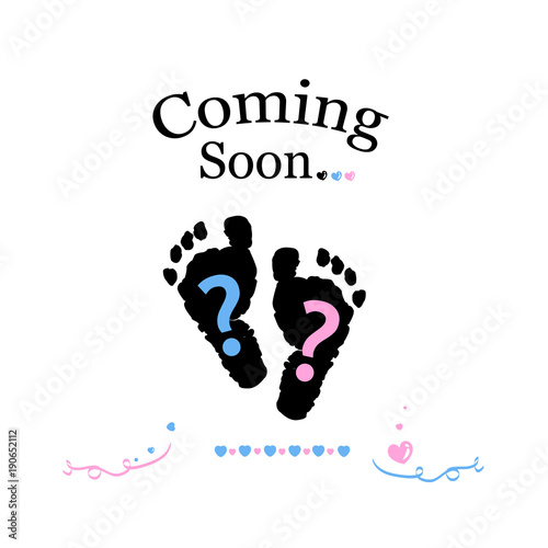 Coming Soon Baby Baby Gender Reveal Symbol Girl Boy And