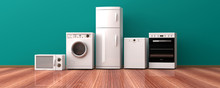 Set Of Home Appliances On A Wo...