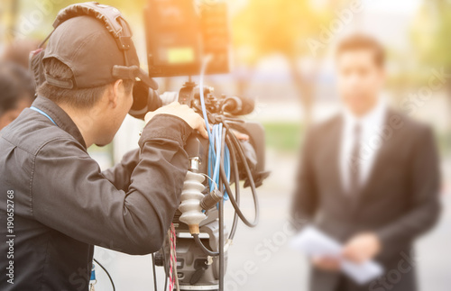 Fotografiet  News conference. Spokesman.