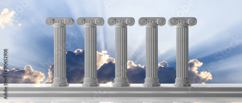 Fotomural Five marble pillars of islam or justice and steps on blue sky background