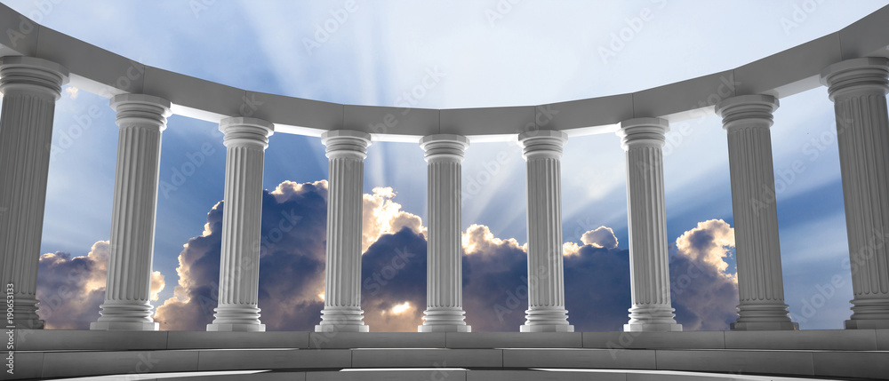 Fototapety, obrazy: Marble pillars and steps on blue sky with clouds background. 3d illustration