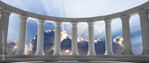 Marble pillars and steps on blue sky with clouds background. 3d illustration