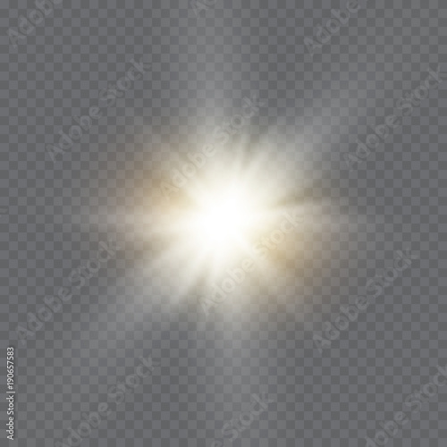 Fototapeta White glowing light explodes on a transparent background. Vector illustration of light decoration effect with ray. Bright Star. obraz na płótnie