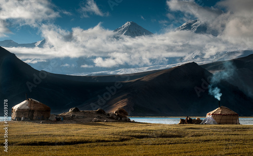 The yurt village in front of Karakul Lake in Xinjiang Uighur Autonomous Region of China is the highest lake of the Pamir plateau, with Muztagh Ata peak of the Kunlun mountains, in the background Wallpaper Mural