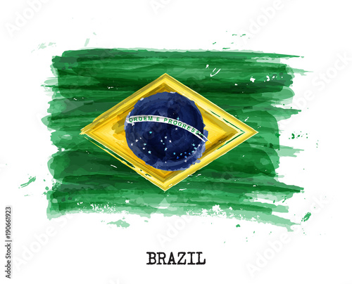 Watercolor painting flag of Brazil . Vector Fotobehang