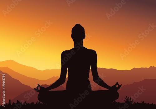 Fotobehang School de yoga Yoga background, silhouette - Vector Illustration