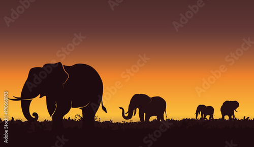 Photo Silhouette landscape illustration of a group of elephants
