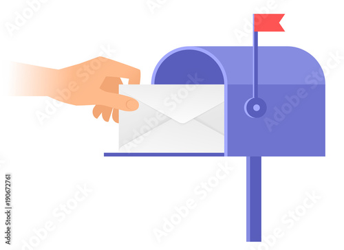 Fotomural Human hand is taking out an envelope from a postbox