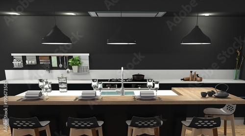 Cuisine Moderne Bois Et Noir Buy This Stock Illustration And