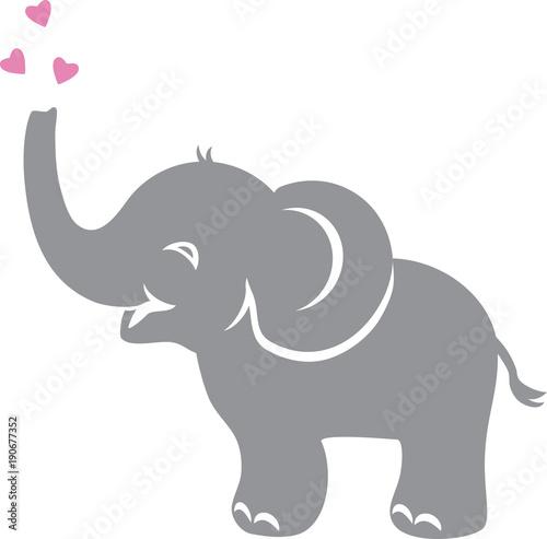 Fototapeta premium Śmieszne słoniątko z sercami