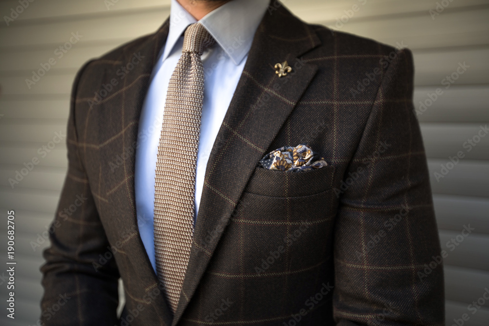 Fototapeta Man in elegant tailored suit posing