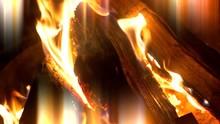 4K Fire Flames Burning Close Up, Bright Orange Close Up Lens Flare Light Streak