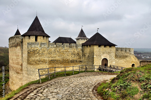 Fotomural Fortress in Khotyn Ukraine, famous place and travel route