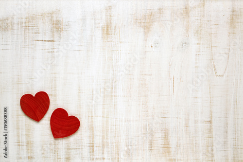 Red Valentine's Day hearts on wooden background Canvas Print