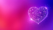 canvas print picture - Polygonal love valentine heart made of connected lines and dots on blurred gradient multicolor background for greeting card. Valentine's Day holiday banner concept.
