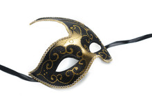 Black And Gold Venetian Mask Isolated On White Background