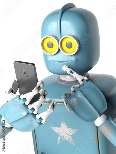 grunge vintage robot look on cell phone. 3D rendering. Canvas Print