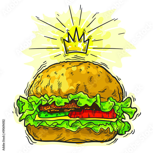 Sketch burger with crown. Hand drawing.Line art style. Isolated on white background.