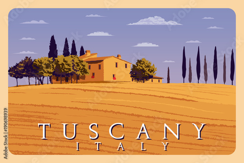 Summer day in Tuscany, Italy. Handmade drawing vector illustration. Poster in the Art Deco style.