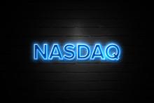 Nasdaq Neon Sign On Brickwall