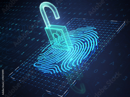 Photo Online banking and fingerprint authentication technology.