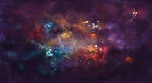 Space Illustration With Cosmic Color Glow And Planets
