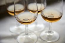 Close-up Of Leftover Glasses Of Port Wine