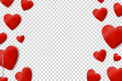 Vector Realistic Isolated Borders With Hearts For Decoration And