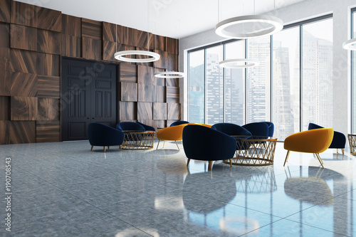Fotografie, Obraz  Dark wooden office waiting room corner
