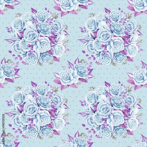 bukiety-roz-niebieskich-akwarela-ilustracja-papier-bez-szwu-wzor