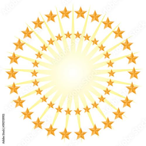 Gold Star Circle Pattern Energy Burst Isolated On White Background Amazing Pattern Energy Stock