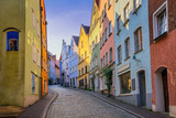 Fototapeta Uliczki - Gothic houses in the Old Town of Landsberg am Lech, Germany