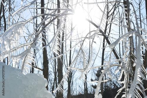 Fototapety, obrazy: Winter landscape frozen waterfalls