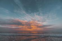Sonnenuntergang Himmel Am Goa Strand In Indien