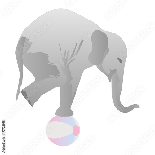 Circus Elephant Standing on a Ball Vector Illustration Poster