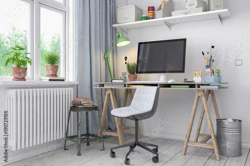 Fotografie, Obraz  Skandinavisches, nordisches Arbeitszimmer mit einem Schreibtisch - Home Office -