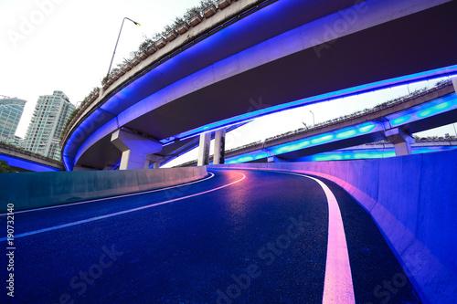 City road overpass viaduct bridge of night scene Canvas Print