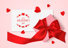 Happy Valentines Day Template Design. Vector Background With Greeting Card And Gift Box With Red Bow, Long Ribbon And Decorative Hearts For Your Design. Top View