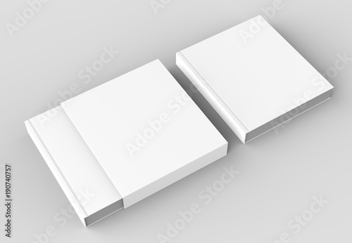Fotografering  Square slipcase book mock up isolated on soft gray background