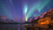 The polar lights in Norway . Ersfjord. Tromso