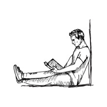 Sketch Drawing Of Reading Man With Book