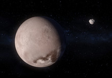 Artwork Of Makemake Dwarf Planet And His Small Moon MK2 In The Kuiper Belt