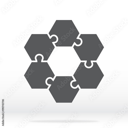 Simple Icon Hexagonal Puzzles In Gray Puzzle Of The Six Elements Flat