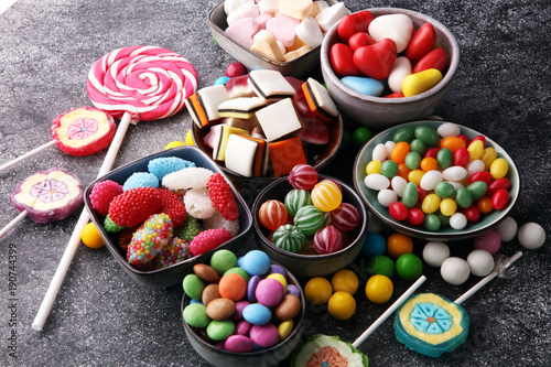 Foto op Aluminium Snoepjes candies with jelly and sugar. colorful array of different childs sweets and treats