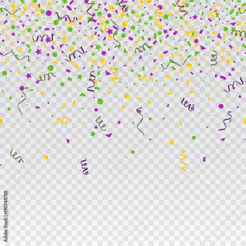 Mardi Gras carnival confetti seamless background. Traditional colors yellow, purple, green. Stock vector illustration Wall mural